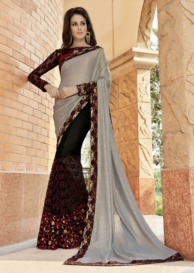 Black Colored Embroidered Chiffon Net Partywear Saree 97060