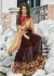 Brown Colored Embroidered Chiffon Georgette Net Partywear Saree 97067