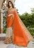 Orange Colored Embroidered Chiffon Georgette Net Festive Saree 97068