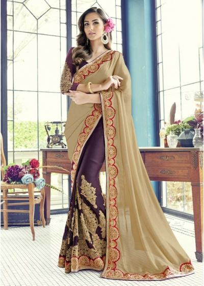Purple Colored Embroidered Faux Georgette Partywear Half n Half Saree 1502