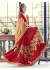 Red Colored Embroidered Faux Georgette Partywear Half n Half Saree 1503