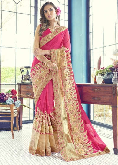 Magenta Faux Georgette Contemporary Embroidered Saree 1506