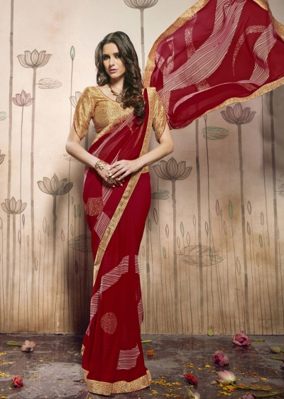 Red Colored Printed Faux Georgette Saree 31030