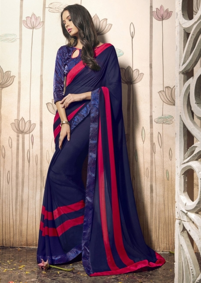 Blue Colored Printed Faux Georgette Saree 31031