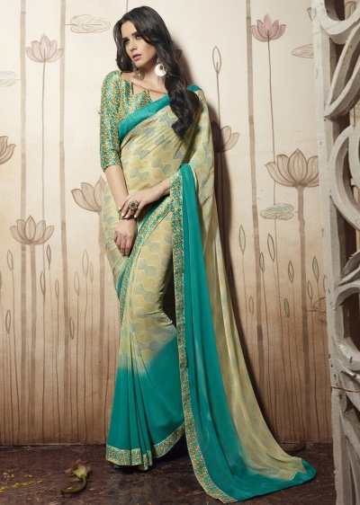 Beige Colored Printed Faux Georgette Saree 31034