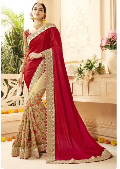 Beige Georgette Art Silk Embroidered Bridal Saree 1112