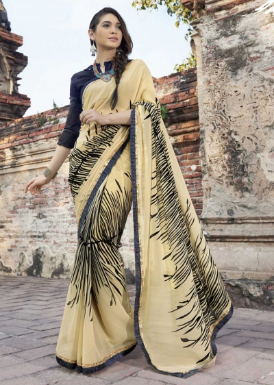 Off White Colored Printed Faux Georgette Saree 2010