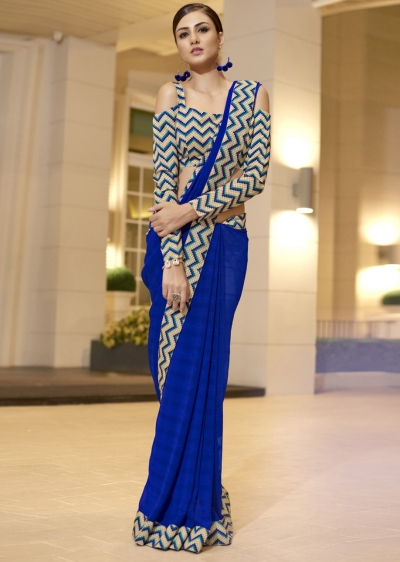 Blue Chiffon Border Worked Saree 1020