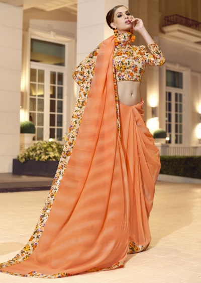 Orange Chiffon Border Worked Saree 1024