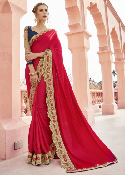 Red Colored Border Worked Satin Festive Saree 1802