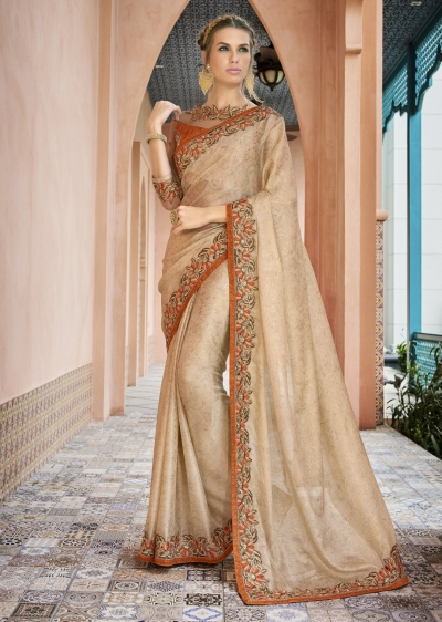 Beige Colored Border Worked Georgette Jacquard Partywear Saree 1803