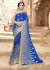 Blue Colored Embroidered Faux Georgette Festive Saree 87092