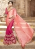 Pink Colored Embroidered Faux Georgette Satin Festive Saree 87093