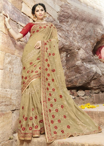 Beige Colored Embroidered Faux Georgette Festive Saree 87094