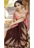 Brown Colored Embroidered Faux Georgette Festive Saree 87095