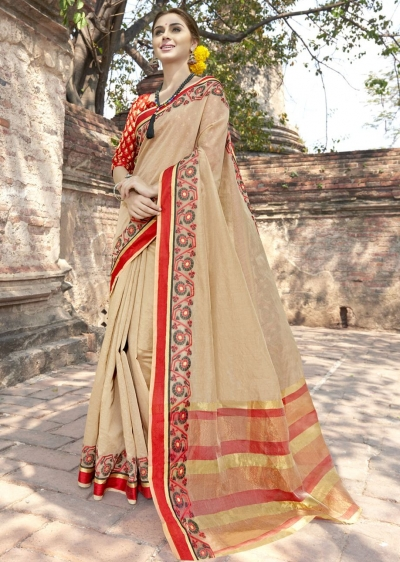 Beige Colored Woven Art Silk Officewear Saree 5203