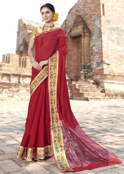 Red Colored Woven Art Silk Officewear Saree 5204