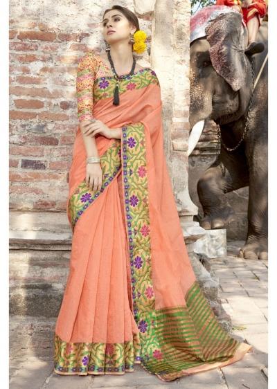 Orange Colored Woven Art Silk Festive Saree 5208