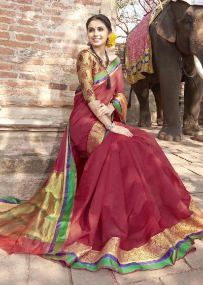 Maroon Colored Woven Art Silk Officewear Saree 5210