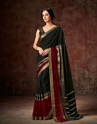 Charmi Smoky Black Festive Wear Cotton Saree