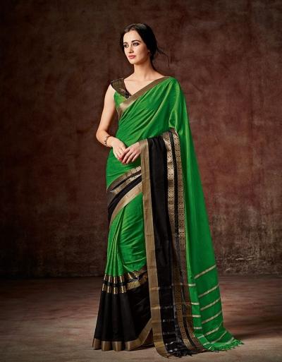 Charmi Lush Green Festive Wear Cotton Saree