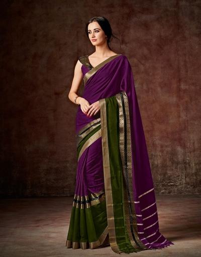 Charmi Wine Magenta Festive Wear Cotton Saree