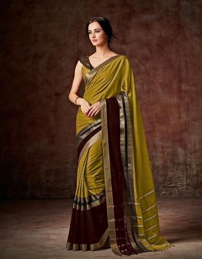 Charmi Mustard Golden Festive Wear Cotton Saree