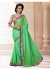 Green Colored Border Worked Faux Georgette Saree 4015