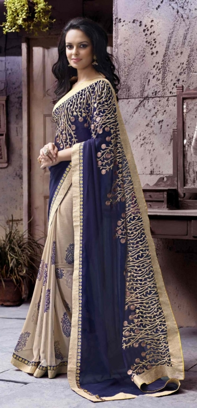 Beige Colored Border Worked Georgette Chiffon Saree 72007