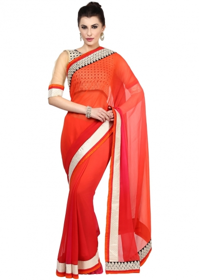 Multi Colored Border Worked Faux Georgette Saree 86002