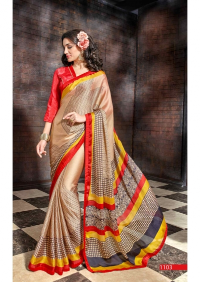Beige Colored Printed Satin Chiffon Saree 1103