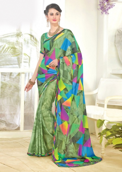 Green Faux Georgette Half n Half Printed Saree 1003