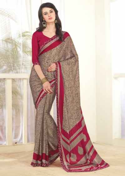 Beige Faux Georgette Traditional Printed Saree 1011