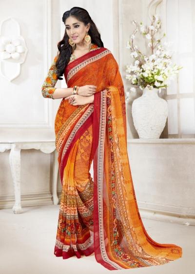 Orange Faux Georgette Traditional Printed Saree 108