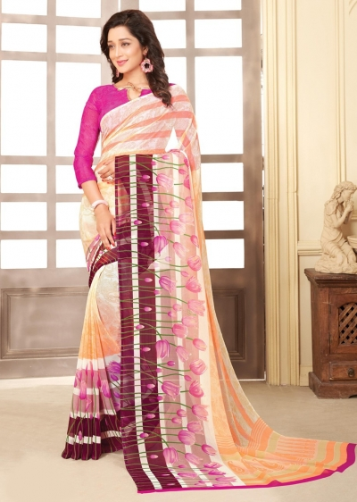 Off White Colored Printed Faux Georgette Saree 89008