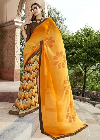 Yellow Colored Printed Saree 1709