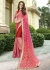 Peach Colored Embroidered Chiffon Georgette Net Partywear Saree 97057