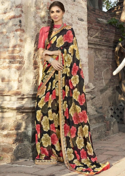 Black Colored Printed Faux Georgette Saree 2003