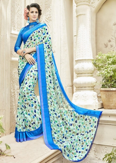 Multi Colored Faux Georgette Traditional Printed Saree 585