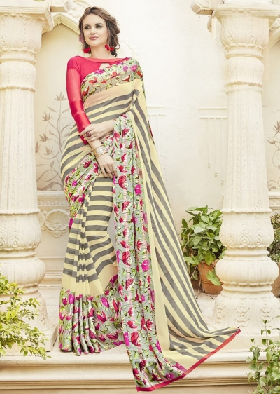 Beige Colored Printed Faux Georgette Saree 586
