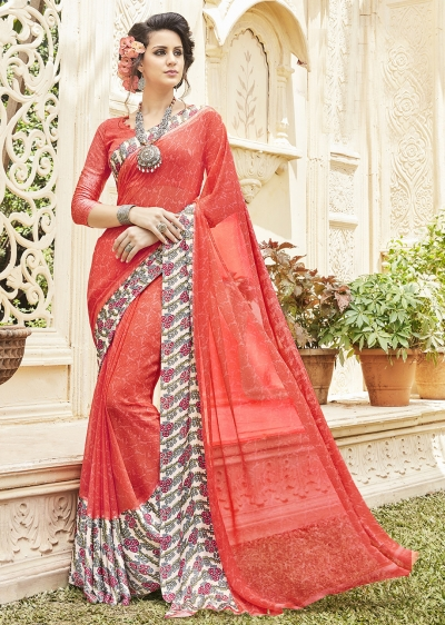 Red Georgette Satin Traditional Printed Saree 588