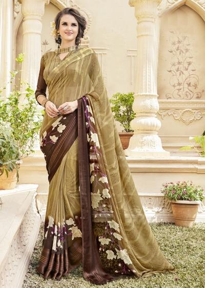 Beige Georgette Satin Traditional Printed Saree 589