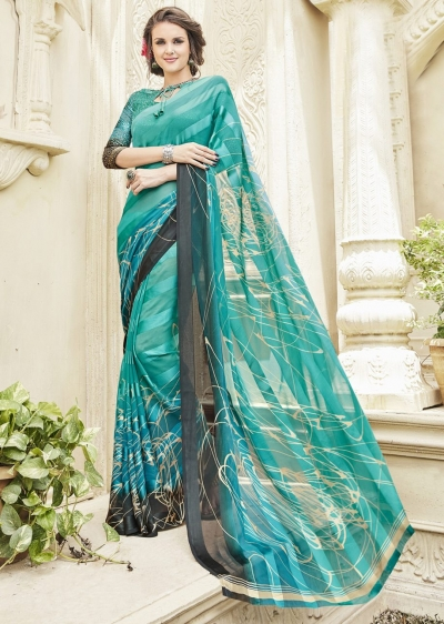 Green Colored Printed Georgette Satin Officewear Saree 591