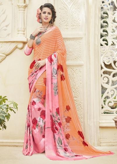 Multi Colored Printed Georgette Satin Saree 593