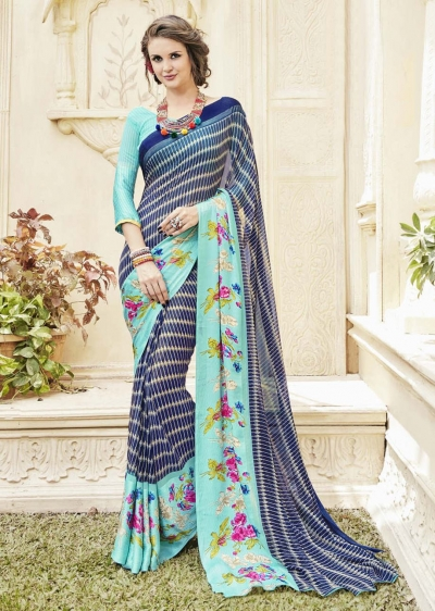 Blue Georgette Satin Stripes Printed Saree 594