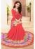 Peach Colored Printed Faux Georgette Saree 61031