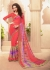 Peach Colored Printed Faux Georgette Saree 61031