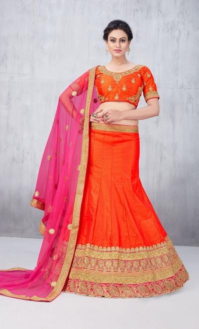 Party Wear Orange Lehenga 139