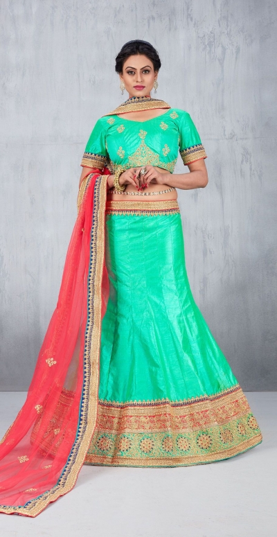 Party Wear Green Lehenga 146