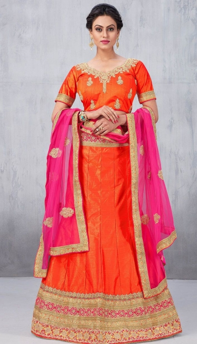 Party Wear Orange Lehenga 149